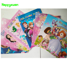Happyxuan 5 books/lot Cartoon Characters Sticker Coloring Books Princess Elsa Dora Hello Kitty Kids Girl doodle Drawing Toys