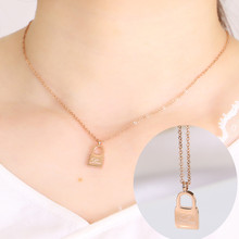2017 New 100% Real Stainless Steel Rose Gold/Slive/Rose Gold LOVE letter carving Lock Key Pendant Necklace Women Gift