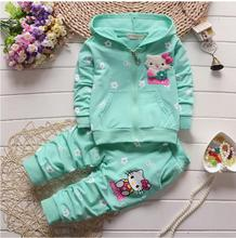 Spring Autumn Baby Girls Clothes Set Cartoon Hello Kitty Casual Sport Hoodied Suit Children Cardigan Sweaters+Pant Set