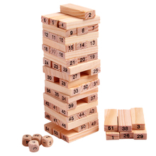 Wooden Tower Wood Building Blocks Toy Domino 54pcs Stacker Extract Building Educational Jenga Game Gift 4pcs Dice