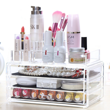 Cosmetics Holder Clear Jewelry Storage Makeup Case Cosmetic Organizer Acrylic Cabinet Box(China)