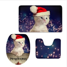 Merry Christmas Lovely Cute Cat Printed Home Bathroom Toilet Seat Cover 3 Piece Set Warmer Soft Bathroom Carpet Toilet Accessor(China)
