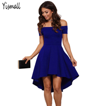 2017 Autumn Women Elegant Vintage Wine red Blue Party Club dress Sexy Off The Shoulder A-Line Dress Vestidos plus Size Yismall