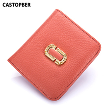 Designer Fashion Cowhide Genuine Leather Short Wallet Women Small Purse Ladies Wallets Mini Slim Coin Pocket Card Wallet Female(China)