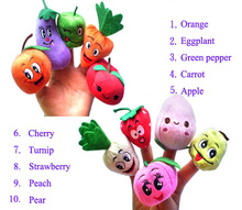Cute Family Finger Puppets Cloth Doll Baby Educational Hand Puppet Mini fruit and vegetable Plush Toy Sets(China)