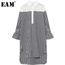 Buy EAM 2018 new spring lapel long sleeve black plaid lace split joint big size long shirt women blouse fashion tide JE64401 for $26.40 in AliExpress store