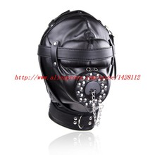 Buy Full Head Harness Fetish Mask Bondage Hood Sexy Slave Headgear Open Mouth Gag Plug Pu Leather Hood Couple Sex Restraint Toy