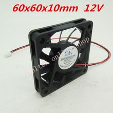10pcs/lot  60x60x10mm  6010 fans 12 Volt  Brushless 6cm DC Fans cooling radiator  Free Shipping