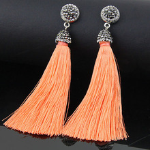 Buy LAKONE Bohemian Crystal Tassel Earrings Black White Blue Red Pink Silk Fabric Long Drop Dangle Tassel Earrings Women Jewelry for $2.53 in AliExpress store