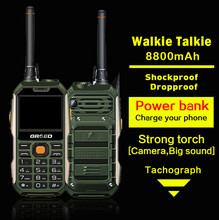 Unlocked GRSED E8800 Walkie talkie IP67 Shockproof Dustproof phone PTT 8800mAH Big Battery Torch Dual SIM Power bank E6800 GOFLY