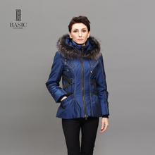 BASIC EDITIONS Fashion Womens Winter Jackets and Coats Raccoon Fur Collar Hooded Cotton Warm Slim Jackets Z08075(China)