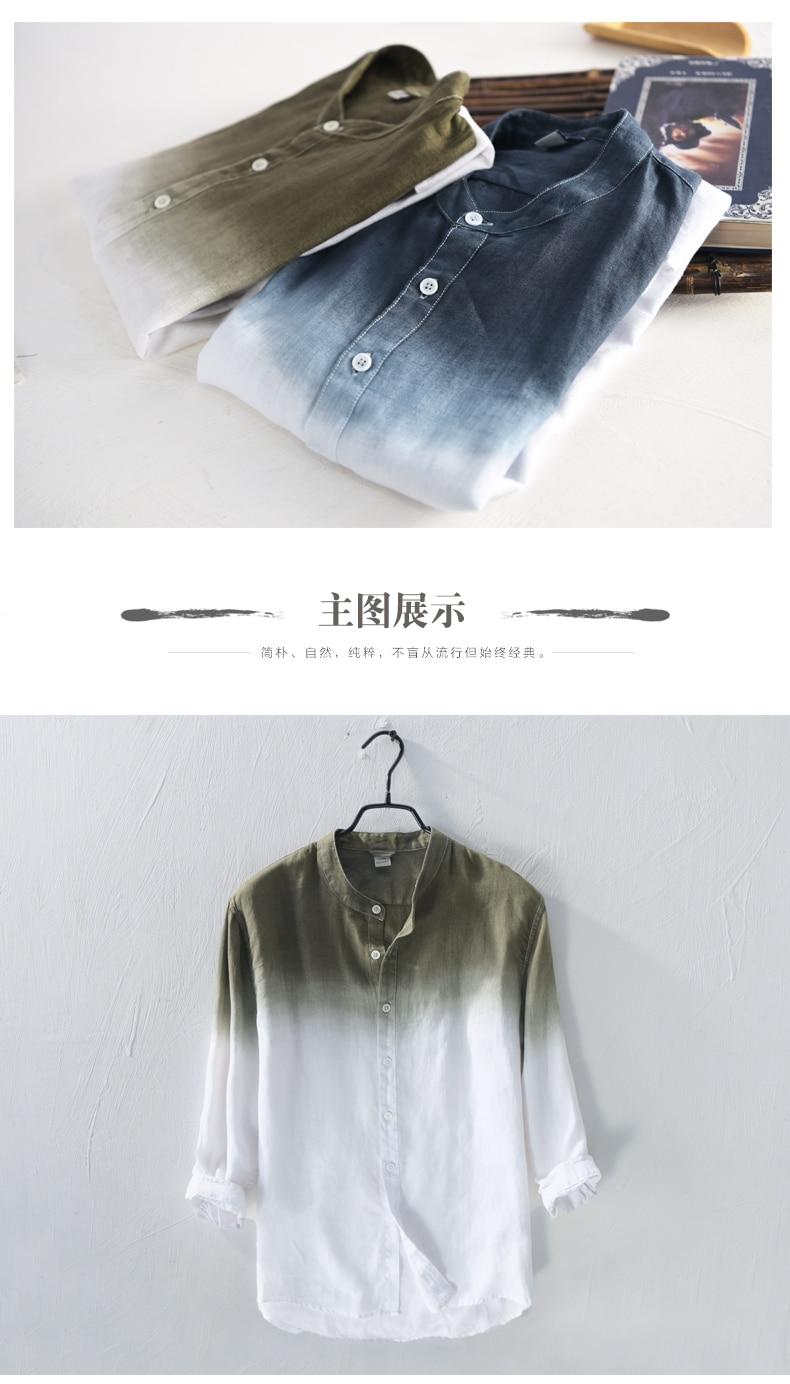 3c6d3ba01c8 2019 2018 Pure Linen Shirt Men S Long Sleeve Summer Thin Section ...