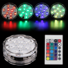10 LED Waterproof RGB Submersible Light Wedding Party Vase Floral Led Base Light Lamp With Remote Control