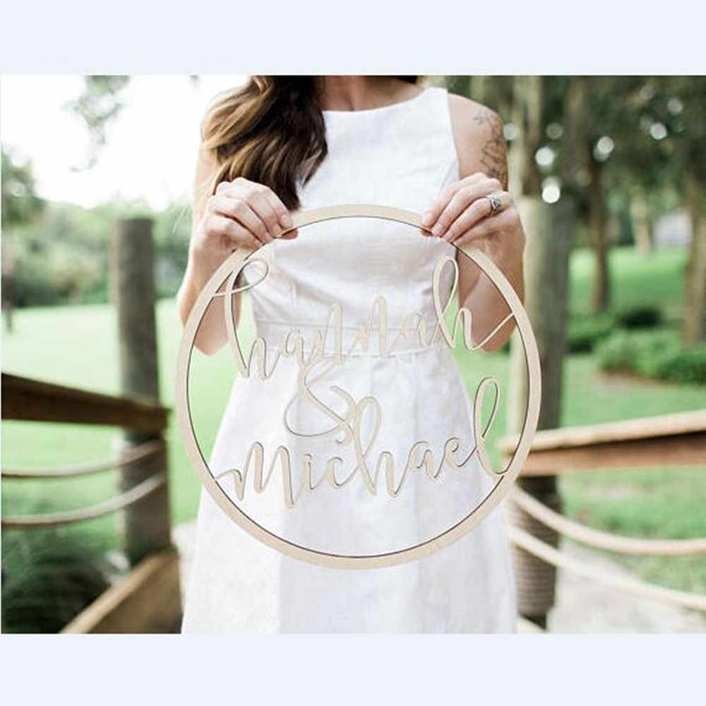 Personalized Bride and Groom Name Wedding Photo Props Wooden Wedding Decoration Unique Wedding Party Gifts Photobooth Props