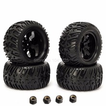 4Pieces RC Tires for Truck & Plastic Wheel Rim Hex:12mm Fit 1:10th Scale Traxxas Tamiya HPI Kyosho Himoto Redcat HSP Monster