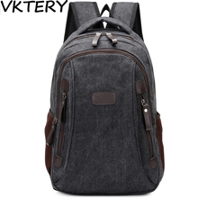 2016 men canvas daily trips equipment notebook south Korean style fashion youth backpack bag(China)