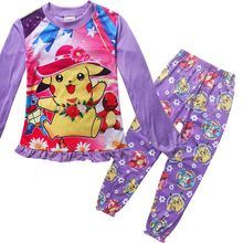 Children's POKEMON GO pajamas set Spring&autumn fashion cartoon baby girls clothing set cotton girl's pyjamas Sleepwear princess