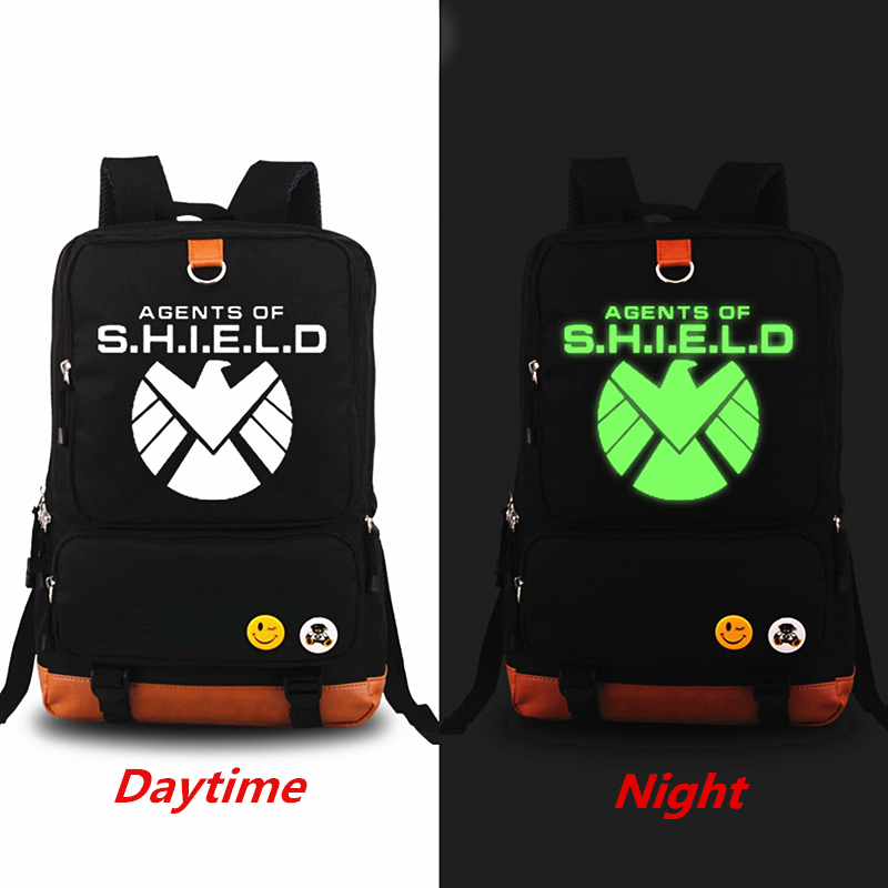 American TV Show Aegis Bureau Marvel Canvas Luminous Printing Backpack  School Bags For Teenagers School Backpack bolsa feminina<br>