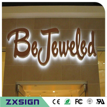 Factory Outlet Outdoor stainless steel sign, Custom backlit metal company logo mold, halo lit led shop signs(China)