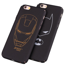 Black hard PC plastic Ultra-thin matte surface batman Phone Case Cover For Apple  iPhone 7 5 5S SE 6 6S 6 plus iron Maniron Man