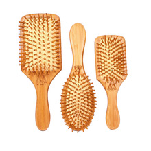 3 Style Natural Wood Paddle Brush health care massage hair comb anti - static decoupling airbag hair styling Wooden Massage(China)