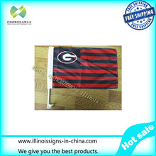 30x45CM black red Georgia Bulldogs window Car flag banner polyester Car decoration with flagpole Free Shipping