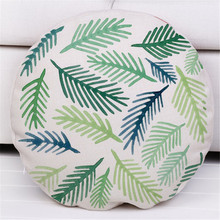 Diameter 45cm Cotton Linen Geometric Leaves Pillow Cover Round Throw Pillow case Sofa Cushion Cover Home Room Decoration Gift