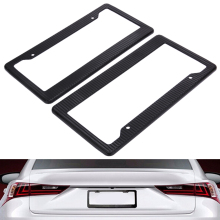 2pcs Carbon Fiber Pattern ABS Car License Plate Frames Tag Covers (Black)  For Vehicles USA Canada Standard ME3L