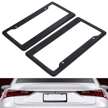 2pcs Carbon Fiber Pattern ABS Car License Plate Frames Tag Covers (Black) For Vehicles USA Canada Standard ME3L(China)