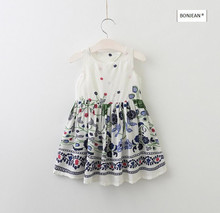 70349731 2017 New Summer Fashion Baby Girls Dresses Print Girl Dress Bow Kids Clothing Supplier Lots(China)