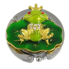 Cute Gold Tone Green Frog Purse Bag Handbag Hanger Hook Holder Folding Bag Purse Hook Handbag Hanger Holder