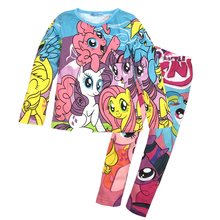 3~8T girl clothes set Autumn winter 2016 kids clothing girls Cartoon Long sleeve pajamas suit 2pcs suits children set