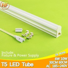 10W 6W LED Tube T5 Light 220V 240V 60cm 30cm led T5 lamp led wall lamp Warm Cold White led fluorescent light T5 neon 1Feet 2Feet(China)