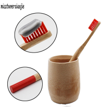 Red round handle wood toothbrush mouth clean bamboo toothbrush toothbrush bristle brush adult travel toothbrush tongue scraper(China)