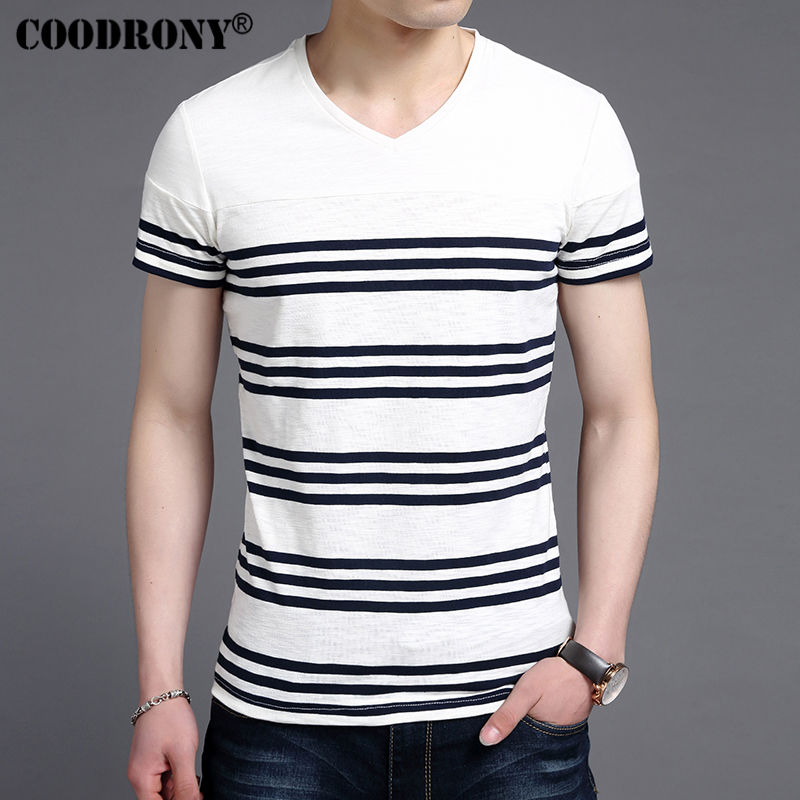 COODRONY Casual Striped Print V-Neck Short Sleeve T Shirt Men 2017 Spring Summer New Top Men Brand Clothing Cotton T-Shirt S7647