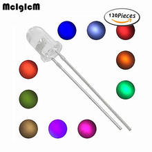 5mm LED kit, 120 unids (12colores x 10 unids)5mm LED diodes assortment emitting LED pink blue green red orange yellow bulb(China)