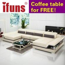 IFUNS U Shaped Black Couch Cheap Modern Design Sectional Sofa Corner  Quality Leather Luxury Sofa Sets