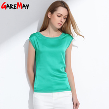 Summer women blouses 2017 new casual chiffon silk blouse slim sleeveless O-neck blusa feminina tops shirts solid 6 color Y048(China)