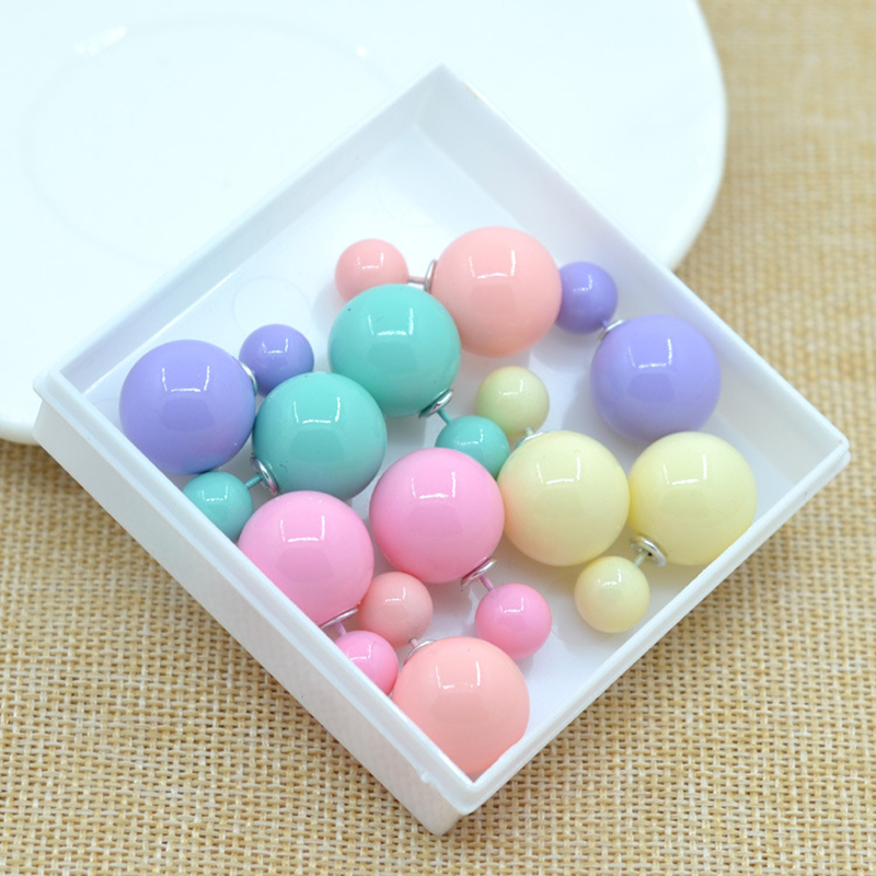 factory price Sales 11 colors fashion simulated pearl candy piercing wedding stud earrings 2sizes brincos perle Free shipping(China (Mainland))