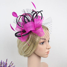 Purple Rose Blue Flower Fascinator Hair Clip For Women Bride Gauze Veil Feather Headdress Hairpin Fashion Hair Party Headwear(China)