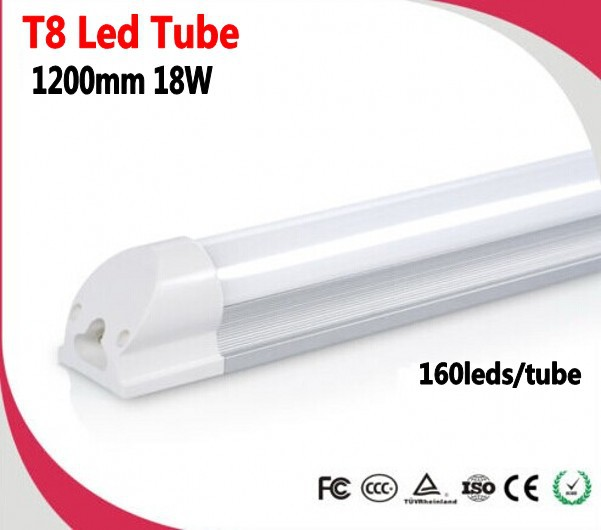 30pcs/lot 1200mm(4ft) 18W T8 integrated LED tube Light 160 x SMD2835 pure white 1800-1900LM AC85-265V<br><br>Aliexpress
