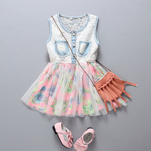 Baby Kids Sleeveless Summer Dress Lace Mesh Patchwork Princess Dress Pearl Button Floral Mesh Dress Baby Girls Holiday Dresses