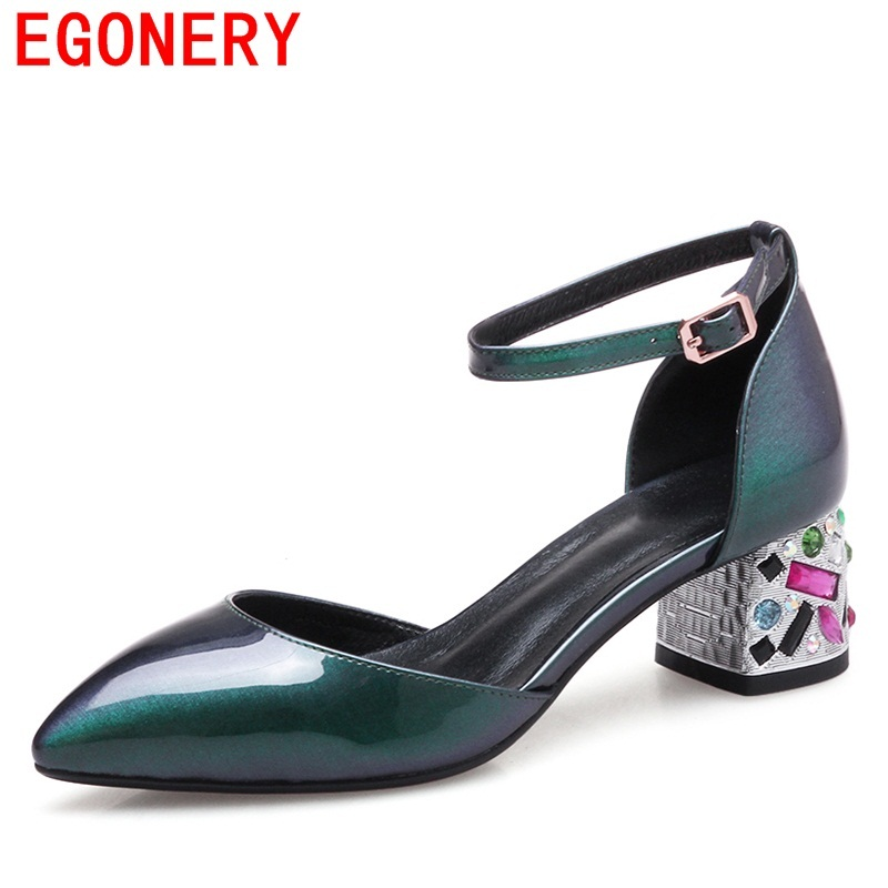 EGONERY sandals women good quality pointed toe high heels office ladies crystal heels leather inside shoes women party sandals<br>