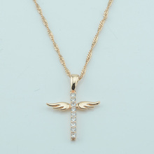 1pcs Men Women 585 Rose Gold Color Angel Cross/Animal Pendants Wave Chains Necklace