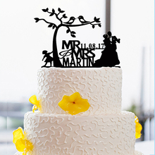 Bride & Groom  Wedding Cake Toppers Custom With Date And Name Wedding Anniversary Decor Love Modern Toppers