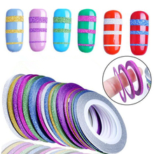 10 Rolls Glitter Scrub Nail Art Striping Tape Line Sticker Tips Decorations DIY Self-Adhesive Decal Tools Manicure 1MM 2MM 3MM(China)