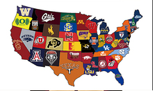 winningest college football teams by state map  flag 3ftx5ft Banner 100D Polyester Flag metal Grommets