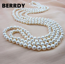 REAL PEARL 9mm Pearl Size 100% Genuine Real Freshwater Cultured Long Pearl Necklace Fashion for Nice Lady Female Gift Hot Sale(China)