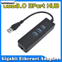 2018 fashion 1piece Price 3 Port USB 3.0 Hub 10/100/1000 Mbps to RJ45 Gigabit Ethernet LAN Wired Network Adapter For windows Mac(China)