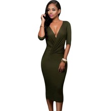 Black olive green dress women wear two-way autumn clothes bodycon midi dress 2016 hot sale mid calf length dresses A61204